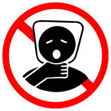 Plastic bag may cause kill your baby. Do not give to your baby as toy. Red prohibition warning symbol sign.  Stock Photos