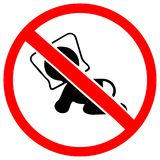 Plastic bag may cause kill your baby. Do not give to your baby as toy. Red prohibition warning symbol sign.  Stock Photo