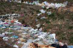 Plastic bag pollution Stock Photo
