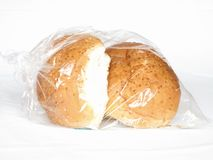 Plastic bag of sesame buns Stock Photos
