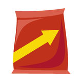 Plastic Bag Snack. Plastic red bag snack with arrow in flat. Potato chips plastic packaging. Bag snack icon. Snack icon. Retail store element. Simple drawing Royalty Free Stock Photo