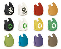 Plastic bags. Of different colors with logo to promote the idea of harmful and recycling Royalty Free Stock Photos