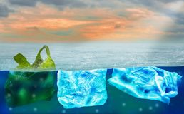 Plastic bags floating on surface of ocean, polluting environment of world and marine animals,concept of reducing plastic waste and. Conserving earth and waste stock photos