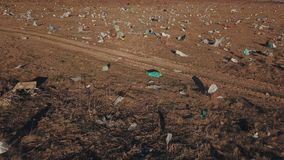 Plastic bags on the lawn. In bird`s-eye view stock video