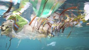 Plastic bags and other garbage floating underwater stock video footage
