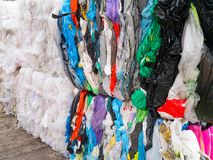 Plastic bags prepared for recycling. The Plastic bags prepared for recycling Stock Photo