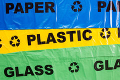 Plastic bags for recyclable garbage Stock Images