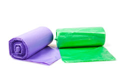 Plastic bags rolls Stock Images