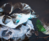 Plastic bags in the water Royalty Free Stock Photos