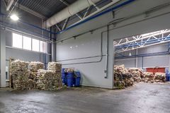 Plastic bales at the waste processing plant. Separate garbage collection. Recycling and storage of waste for further disposal. royalty free stock image