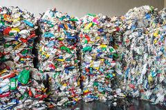 Plastic bales at the waste processing plant. Separate garbage collection. Recycling and storage of waste for further disposal. stock photo
