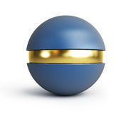 Plastic ball with a gold insert. On a white backgroun Stock Photos