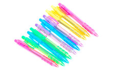 Plastic Ballpoint Pens on White Stock Images