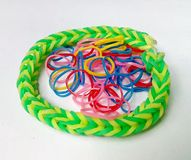 Plastic band. Circular plastic band color colorful conceptual design elastic fashion plastic red round rubber royalty free stock photos