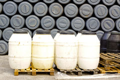 Plastic barrels Stock Photo