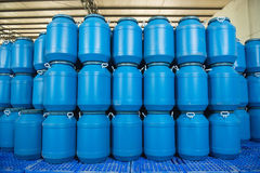Plastic barrels contain in plant Stock Images