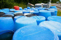 Plastic barrels Stock Images