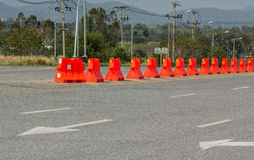 Plastic barriers blocking the road Stock Photos