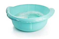 Plastic basin. With water, clipping path included stock photo