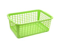Plastic basket. Green plastic basket on white Royalty Free Stock Images