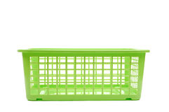 Plastic basket. Green plastic basket on white Stock Images
