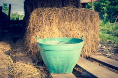 Plastic Basket With Hay Stack Stock Photo