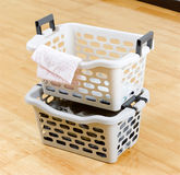 Plastic baskets for laundry Stock Photos