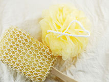 Plastic bath puff and sponge for shower cleaning and scrub body Stock Images