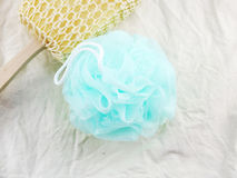 Plastic bath puff and sponge for shower cleaning and scrub body Royalty Free Stock Photos