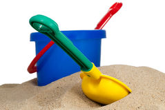 Plastic beach bucket Stock Photos