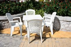 Plastic beach chair Stock Images