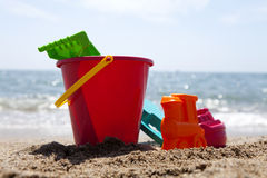Plastic beach toys Stock Images