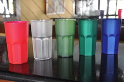 Plastic beakers on a bar top Royalty Free Stock Photo