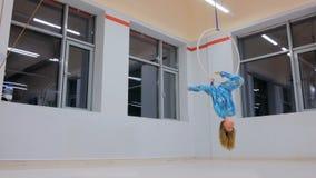 Plastic beautiful girl gymnast on acrobatic circus ring Stock Photos