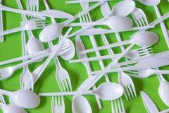 Plastic beschikbaar bestek stock afbeelding