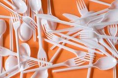 Plastic beschikbaar bestek royalty-vrije stock afbeelding