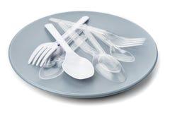 Plastic bestek Stock Foto