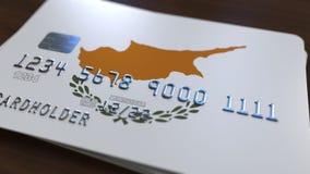 Plastic betaalpas die vlag van Cyprus kenmerken De cypriotische nationale verwante animatie van het bankwezensysteem stock illustratie
