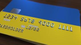 Plastic betaalpas die vlag van de Oekraïne kenmerken De Oekraïense nationale verwante animatie van het bankwezensysteem vector illustratie