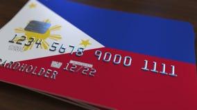 Plastic betaalpas die vlag van Filippijnen kenmerken De nationale verwante animatie van het bankwezensysteem vector illustratie