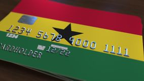 Plastic betaalpas die vlag van Ghana kenmerken De Ghanese nationale verwante animatie van het bankwezensysteem stock illustratie