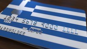 Plastic betaalpas die vlag van Griekenland kenmerken De nationale verwante animatie van het bankwezensysteem stock illustratie