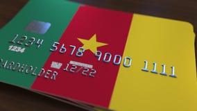 Plastic betaalpas die vlag van Kameroen kenmerken De Kameroenese nationale verwante animatie van het bankwezensysteem vector illustratie