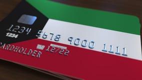 Plastic betaalpas die vlag van Koeweit kenmerken De Koeweitse nationale verwante animatie van het bankwezensysteem royalty-vrije illustratie