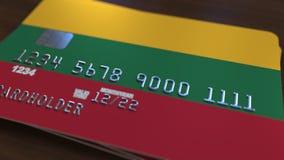 Plastic betaalpas die vlag van Litouwen kenmerken De Litouwse nationale verwante animatie van het bankwezensysteem stock illustratie