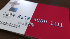Plastic betaalpas die vlag van Malta kenmerken De Maltese nationale verwante animatie van het bankwezensysteem vector illustratie