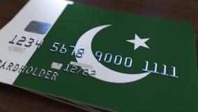 Plastic betaalpas die vlag van Pakistan kenmerken De Pakistaanse nationale verwante animatie van het bankwezensysteem royalty-vrije illustratie