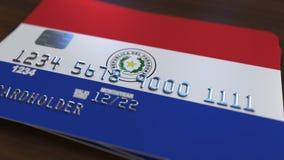 Plastic betaalpas die vlag van Paraguay kenmerken De Paraguayaanse nationale verwante animatie van het bankwezensysteem royalty-vrije illustratie