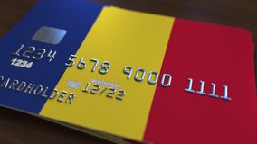 Plastic betaalpas die vlag van Roemenië kenmerken De Roemeense nationale verwante animatie van het bankwezensysteem royalty-vrije illustratie