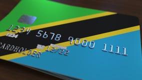 Plastic betaalpas die vlag van Tanzania kenmerken De Tanzaniaanse nationale verwante animatie van het bankwezensysteem royalty-vrije illustratie